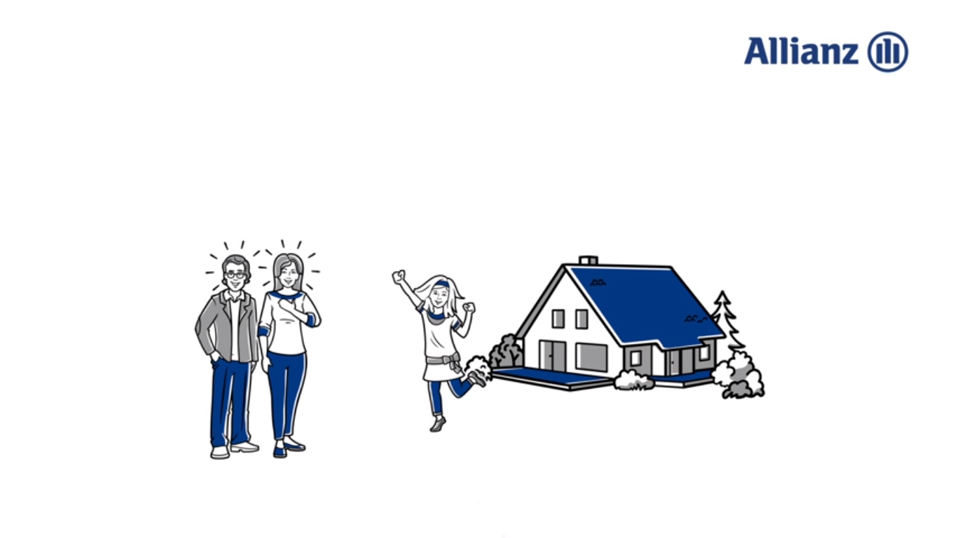 Allianz - Illustration: Junge Familie vor Haus